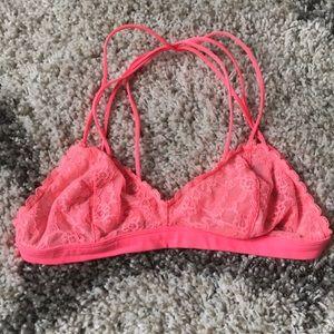 VS Strappy Neon Pink Lace Bralette 🌷